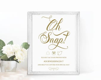 Wedding Social Media Sign | Printable Wedding Snapchat Sign | Custom Hashtag Sign | Printable Instagram Sign | Gold Snapchat Filter Sign