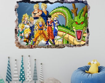 Dragon Ball Z Wall Decal - Smashed 3D Wall Art - Dragon Ball Series Room Decor - Mural Wall Art Home Decor Vinyl Removable Sticker