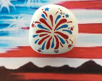 Patriotic Fireworks Hand Painted Rock-  Labor Day, Memorial Day, Veterans Day, 4th of July (fireworks2)