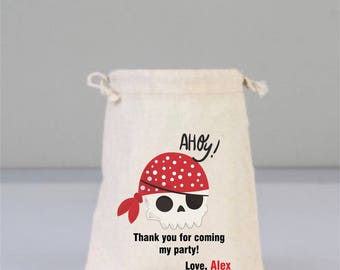 Personalized Birthday Bag with Pirate Skull, Pirate Gift Bag, Birthday Party Gift, Children  Gifts, Cotton Bags, Cotton Bag Drawstring