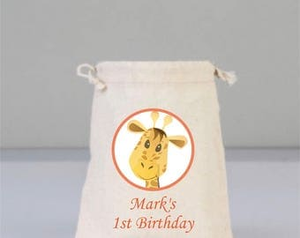 Birthday Personalized Bags with Giraffe,  Birthday Party Decorations , Birthday Party Gift, Children  Gifts, Cotton Bag Drawstring