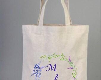 Bridal Bags, Purple Flower Weddings Bag, Bridesmaid Bag, Bridal Gifts, Cotton Bridal Bag, Purple Wreath, Bridal Shower, Welcome Tote Bags