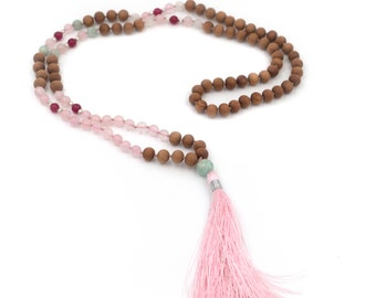108 Bead Rose Quartz Mala Necklace