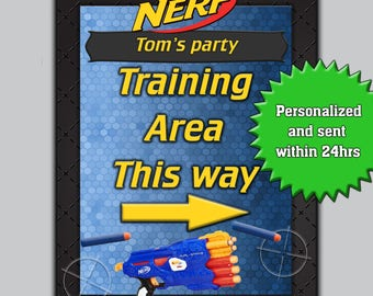 "Customized Nerf Party Sign ""Training Area This Way"" Personalised Nerf birthday party - Nerf sign - Printable"