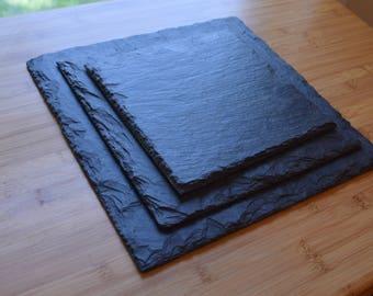 Slate Plates, Slate Charcuterie Board, Cheese Board, Set of Slate Plates, Set of Slate Serving Boards, Wedding Gift, Housewarming Gift