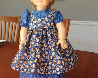 "Fits 18"" American Girl Doll Clothes / Kirsten / 1800s / 19th Century / Civil War / Pioneer / Little House on Prairie Dress & Pinafore Set"