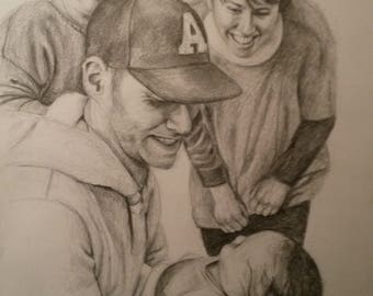 Custom hand drawn family portraits, drawn with pencil from photo