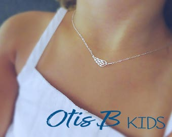 Kids Angel Wing necklace, First day of school gift, little girls gift, kids jewelry, sterling silver childs necklace, feather charm,, Otis B