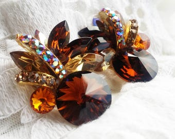Vintage Amber and Clear Glass Rhinestone Earrings - 1990s - Exquisite Beauties - Warm - Great for Special Occasions