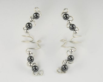 Ear Cuff Earrings - Sterling Silver Gemstone Ear Cuffs - Available in 10 Gemstone Colors - Silver Ear Cuff - Gemstone Ear Cuff - Non Pierced