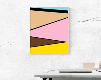 "Printable Art, Abstract Art, Color Block, Geometric Art, Instant Download 24""x30"""