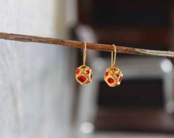 18k Gold Plated Earrings in 925 Sterling Silver Enamel Finish Earrings