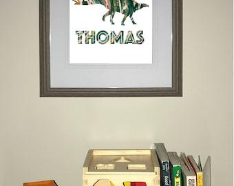 Dinosaur -  Stegosaurus Print | Child's room art | Customizable with name