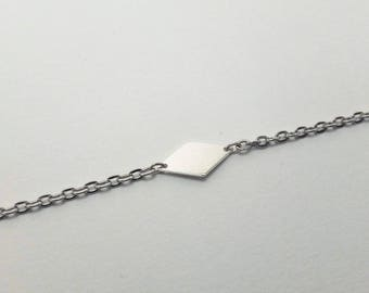 Silver chain and diamond charm bracelet