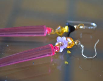 Earrings with lucite flower, amber chips, Pearl swarovski crystal, 925 sterling silver hooks