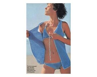 Crochet Bikini & Jacket Coverup - Two piece swimsuit with shell pattern motifs