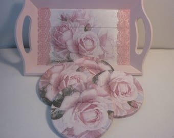 "Tray shabby chic ""roses anciennes"" and its coasters"