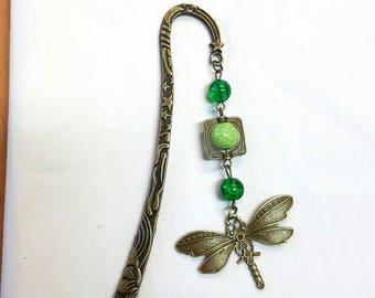 bronze & green Dragonfly bookmark