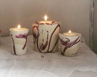 Set of 3 candle holders made of plaster/paint/glitter color white/purple