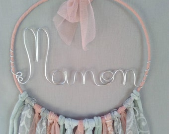 Customizable wire catches dreams handmade initials, powder pink and silver gray, nursery wall decor