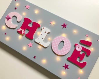 Light canvas with custom name - Chloe - name wood on canvas - painting kids room - wood letter - kids decor