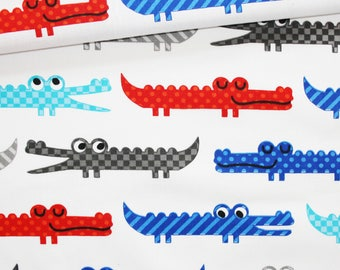 Crocodiles, 100% cotton fabric printed 50 x 160 cm, crocodiles on white background