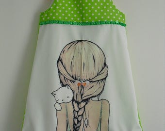 "Pretty little dress ""little girl and her cat"" size 6 years"