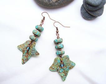 Turquoise Ivy leaf earrings,