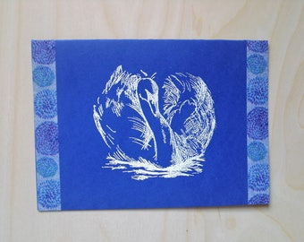 Card swan blue / white all occasions