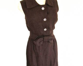 M 60s Brown Linen Dress Rhinestone Buttons Matching Belt Sleeveless Sheath Wiggle Cocktail Summer Medium