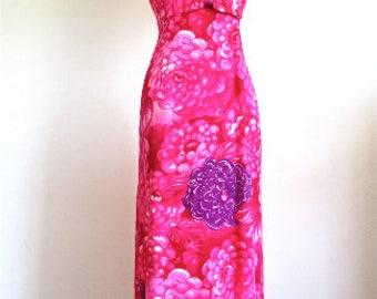 M L 60s Maxi Sundress by Kimo's Polynesian Shop Hawaii Floral Pinks Purples Tikki Island Hula Medium Large