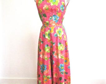 S M 60s Jumpsuit Maxi Pants Dress MOD Vintage Pop Art Floral Print Pink Orange Blue Green Hostess Long Small Medium