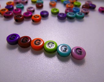 20 letters colors G 7 mm acrylic beads