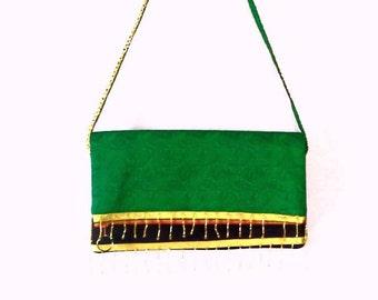 Handmade foldover clutch purse