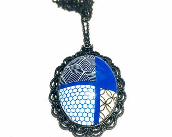 Necklace polymer clay blue black geometric pattern