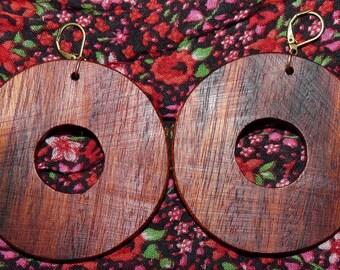 Earrings in precious wood: Saturn