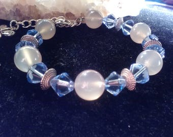 Pink opal swarovski crystals with silver spacers