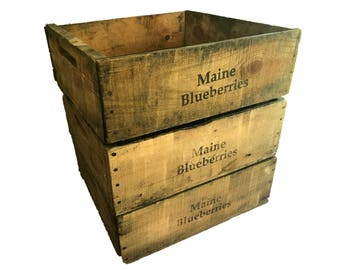 Wooden Crate Antique Maine Blueberry Crates, Vintage Fruit Harvest Boxes, 1920's to 1990's