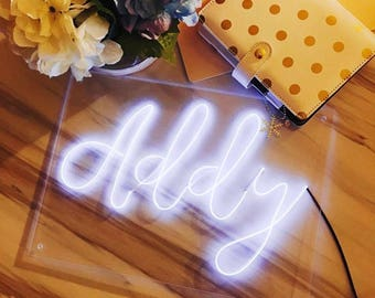 "Small 9.8"" x 13.8'' (25cm x 35cm) Name Handmade Plexiglass Calligraphy El Wire Neon Sign/ wall art/ lighting decor customize 6 letters"