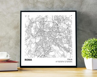 Poster map of Rome (Italy) 23 x 23. Ideal plate for decoration or as a gift.