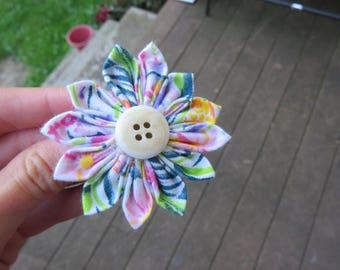 Cute Pastel Colored Fabric Flower Hair Clip Hair Pin