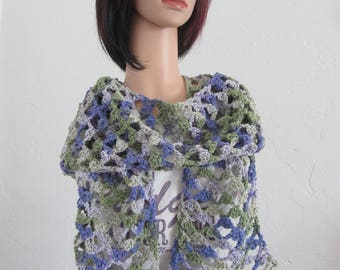 Purple/gray/green crocheted medium weight cotton open-stitch spring/summer/fall/fashion scarf