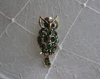 Green Jeweled Owl Brooch