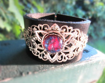 Dragons Breath Opal Cuff, Triquetra Cuff, Brown Leather, Leather Bracelet, Black Leather, Silver Triquetra