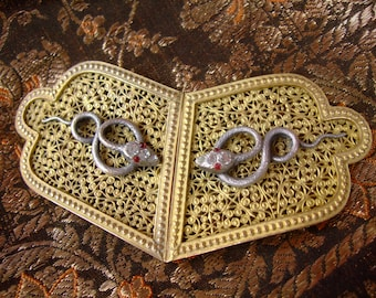 Old snake and openwork chiseled brass belt buckle