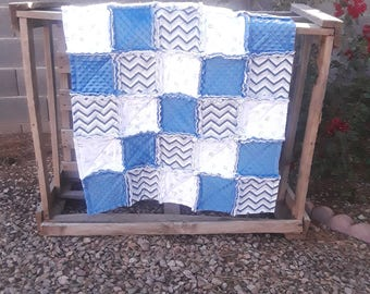 Cars trucks and helicopter, Baby Boy Blue, Rag quilt, mink, flannel and fleece.