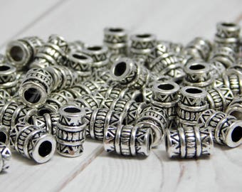 50pcs - 5x7mm - Metal Spacers - Drum Beads - Barrel Beads - Metal Beads - Silver Beads - Antique Silver - Large Hole Beads - (3397)