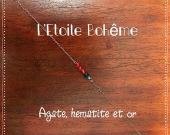 Rose gold, agate and hematite bracelet