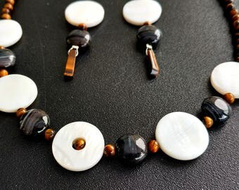 Beautiful Tiger Eye and Shell Necklace and Earring Set