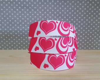 1 meter of Gros Grain heart Ribbon